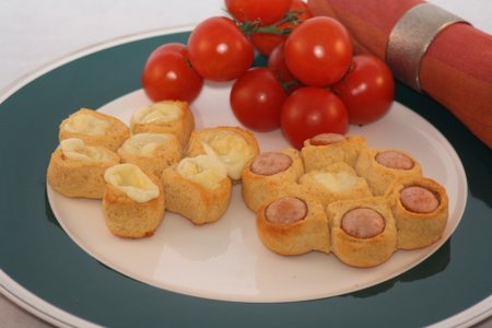 Würstchen- und Käseblumen (Low Carb)