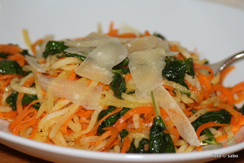Gemüsenudeln mit Giersch (Low Carb / Keto / vegetarisch)
